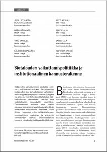 Biotalouden vaikuttamispolitiikka ja institutionaalinen kannusterakenne MUA-lehti 1-2017